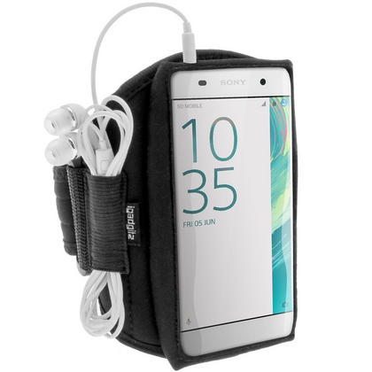 iGadgitz Water Resistant Black Sports Jogging Gym Armband for Sony Xperia XA F3111 (2016) Thumbnail 2