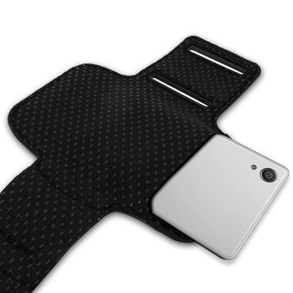 iGadgitz Reflective Anti-Slip Black Sports Jogging Gym Armband for Sony Xperia XA F3111 with Key Slot Thumbnail 4