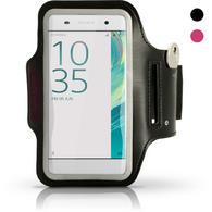 iGadgitz Reflective Anti-Slip Black Sports Jogging Gym Armband for Sony Xperia XA F3111 with Key Slot