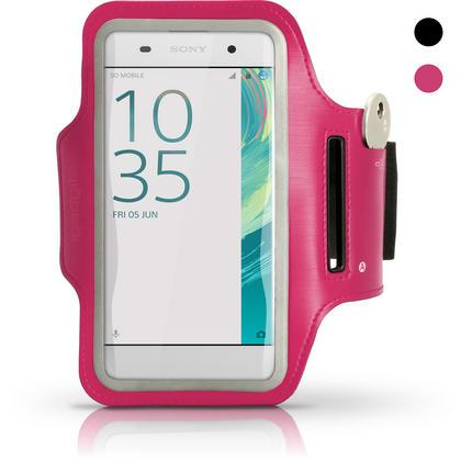 iGadgitz Reflective Anti-Slip Pink Sports Jogging Gym Armband for Sony Xperia XA F3111 with Key Slot Thumbnail 1