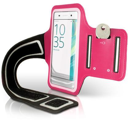 iGadgitz Reflective Anti-Slip Pink Sports Jogging Gym Armband for Sony Xperia XA F3111 with Key Slot Thumbnail 2
