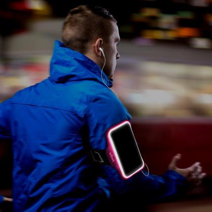 iGadgitz Reflective Anti-Slip Pink Sports Jogging Gym Armband for Sony Xperia XA F3111 with Key Slot Thumbnail 3
