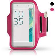 iGadgitz Reflective Anti-Slip Pink Sports Jogging Gym Armband for Sony Xperia XA F3111 with Key Slot