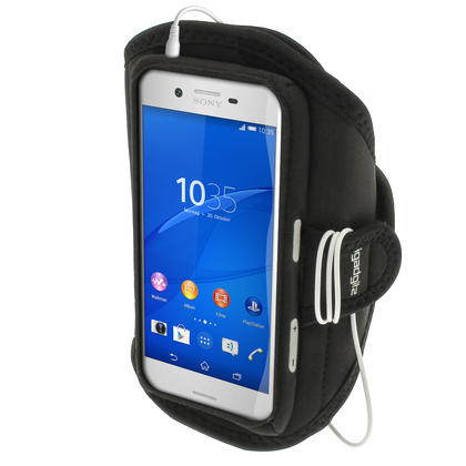 iGadgitz Water Resistant Black Sports Jogging Gym Armband for Sony Xperia X F5121 (2016) Thumbnail 1