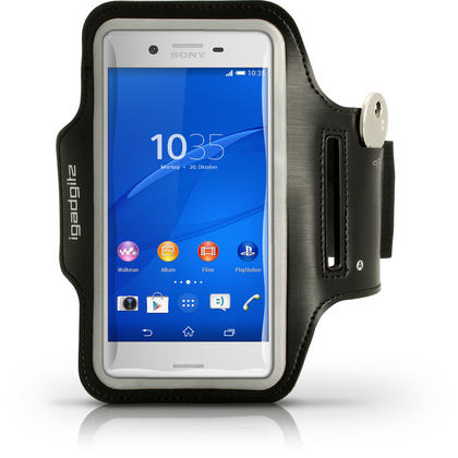 iGadgitz Reflective Anti-Slip Black Sports Jogging Gym Armband for Sony Xperia X F5121 (2016) with Key Slot Thumbnail 1