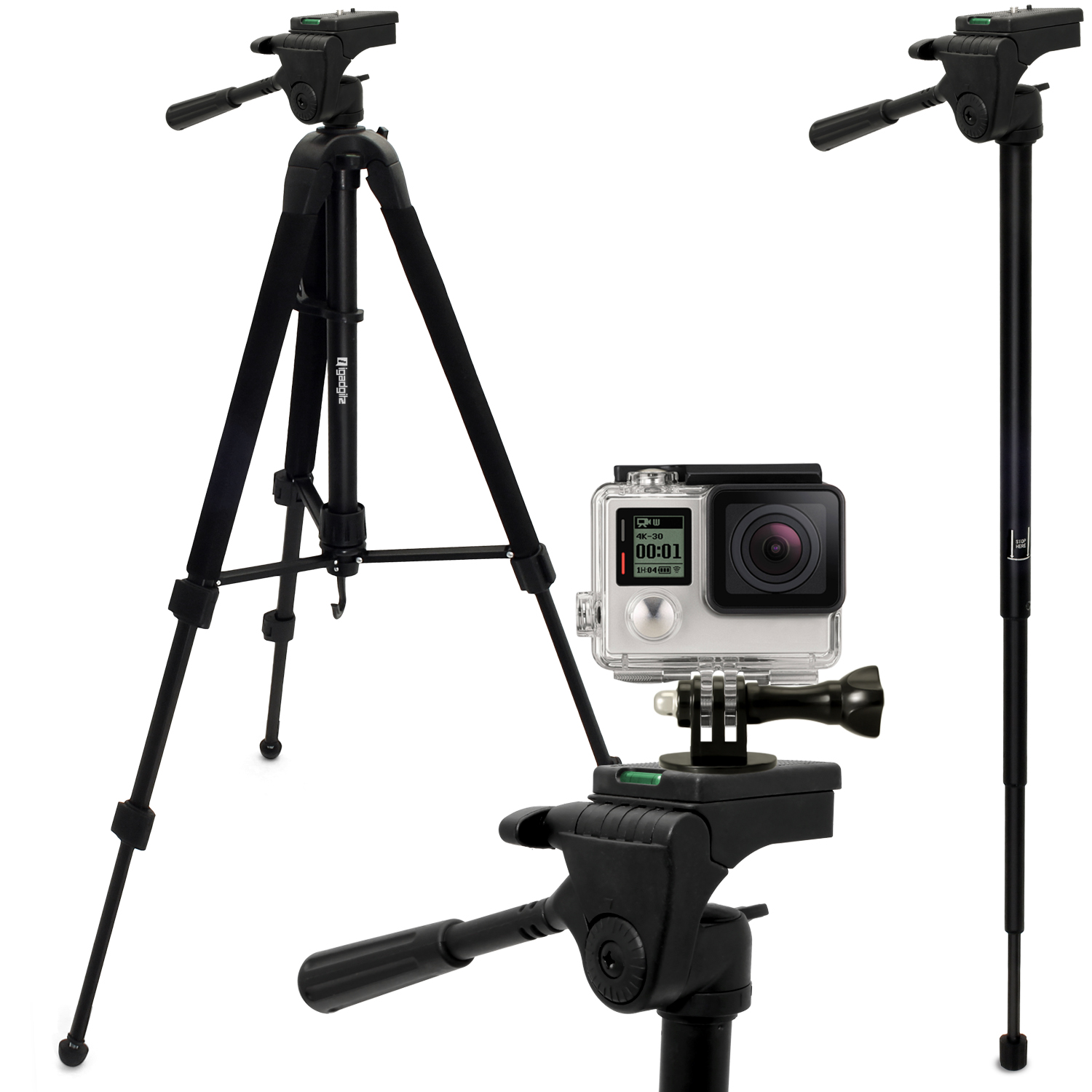 "iGadgitz 150cm 59"" 2 in 1 Aluminium Travel Tripod & Monopod + Adaptor Mount for Go Pro Hero6, Fusion, Hero5 Black & Session, 4, 3+, 3, 2, 1, Session"