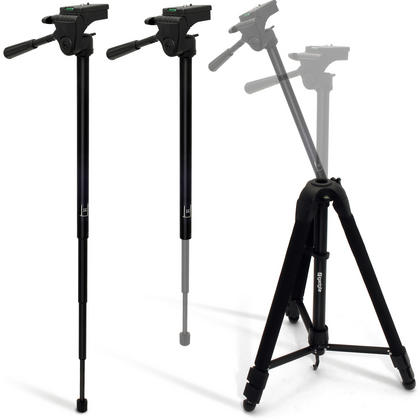 "iGadgitz 150cm 59"" 2 in 1 Aluminium Travel Tripod & Monopod + Adaptor Mount for Go Pro Hero6, Fusion, Hero5 Black & Session, 4, 3+, 3, 2, 1, Session Thumbnail 5"