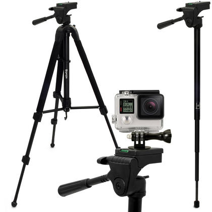 "iGadgitz 150cm 59"" 2 in 1 Aluminium Travel Tripod & Monopod + Adaptor Mount for Go Pro Hero6, Fusion, Hero5 Black & Session, 4, 3+, 3, 2, 1, Session Thumbnail 1"