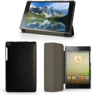 "iGadgitz Premium Black PU Leather Smart Cover for Lenovo Tab 3 7"" Essential + Multi-Angle Viewing Stand + Screen Protector"
