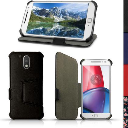 iGadgitz PU Leather Case Cover for Motorola Moto G 4th Generation XT1622 (Moto G4) & Moto G4 Plus XT1644 + Screen Prot Thumbnail 1