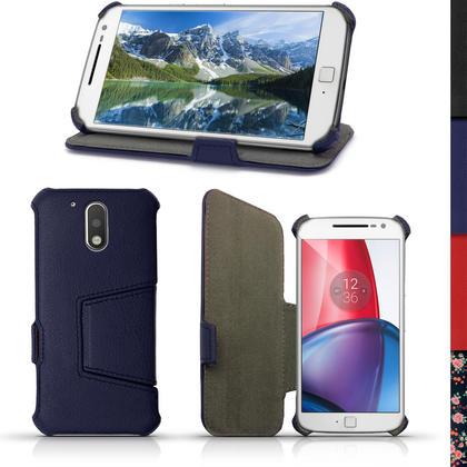 iGadgitz PU Leather Case Cover for Motorola Moto G 4th Generation XT1622 (Moto G4) & Moto G4 Plus XT1644 + Screen Prot Thumbnail 2