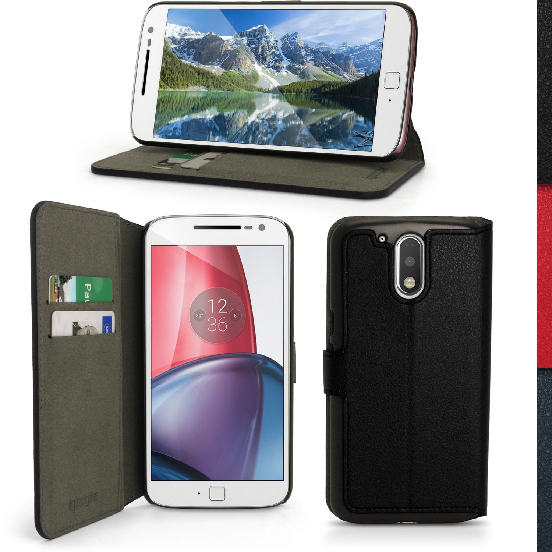 best loved 289ab faf43 Details about PU Leather Skin Wallet Case for Motorola Moto G4 (4th Gen) &  G4 Plus Flip Cover