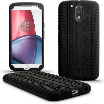 iGadgitz Black Tyre Silicone Gel Case Cover for Motorola Moto G 4th Generation XT1622 (Moto G4) & Moto G4 Plus XT1644 Thumbnail 1