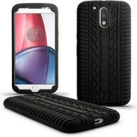 iGadgitz Black Tyre Silicone Gel Case Cover for Motorola Moto G 4th Generation XT1622 (Moto G4) & Moto G4 Plus XT1644