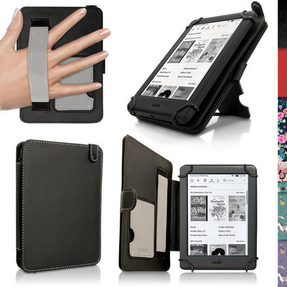 "iGadgitz Black PU Leather Folio Case Cover for Amazon Kindle E-Reader 6"" 2016 with Hand Strap & Viewing Stand Thumbnail 1"