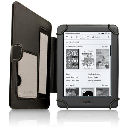 "iGadgitz Black PU Leather Folio Case Cover for Amazon Kindle E-Reader 6"" 2016 with Hand Strap & Viewing Stand Thumbnail 3"