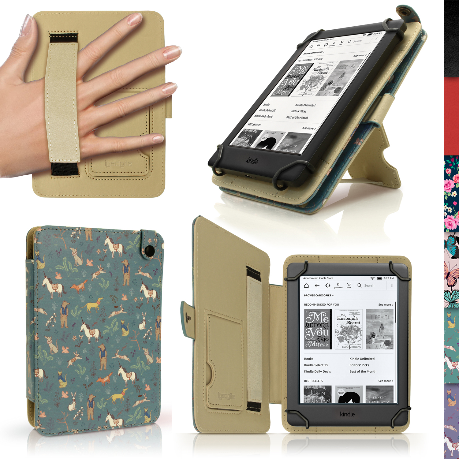 Igadgitz Blue Mystery Forest Pu Leather Case Cover For Amazon Kindle E Reader 6