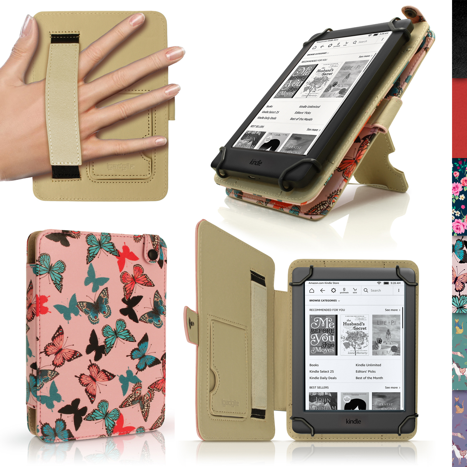 """iGadgitz Butterfly Pattern PU Leather Case Cover for Amazon Kindle E-Reader 6"""" 2016 with Hand Strap & Viewing Stand"""