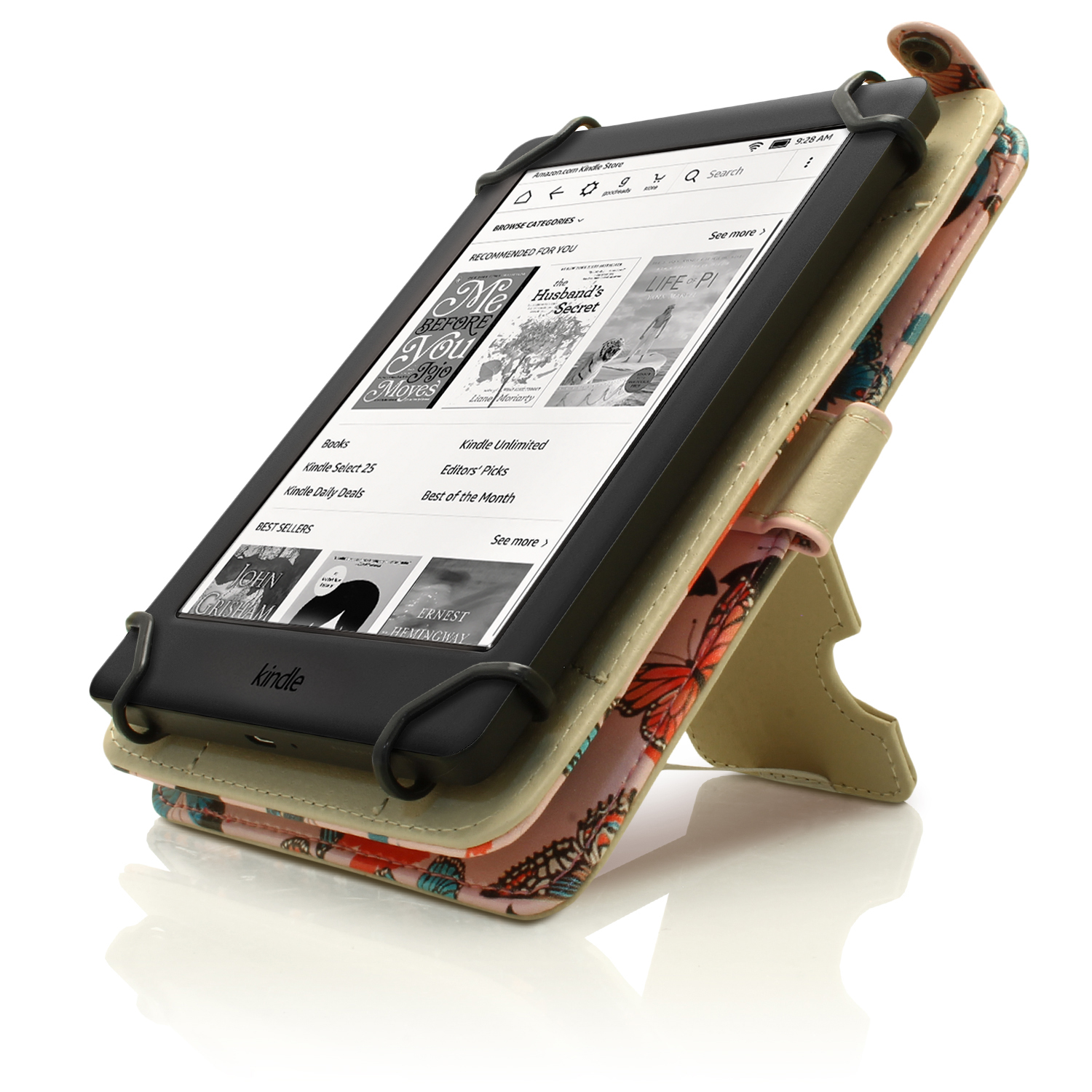 Igadgitz Butterfly Pattern Pu Leather Case Cover For Amazon Kindle Ereader  6