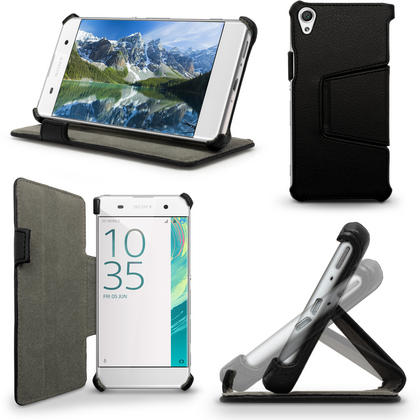 iGadgitz Premium Folio PU Leather Case Cover for Sony Xperia XA F3111 with Multi-Angle Viewing Stand + Screen Protector Thumbnail 1