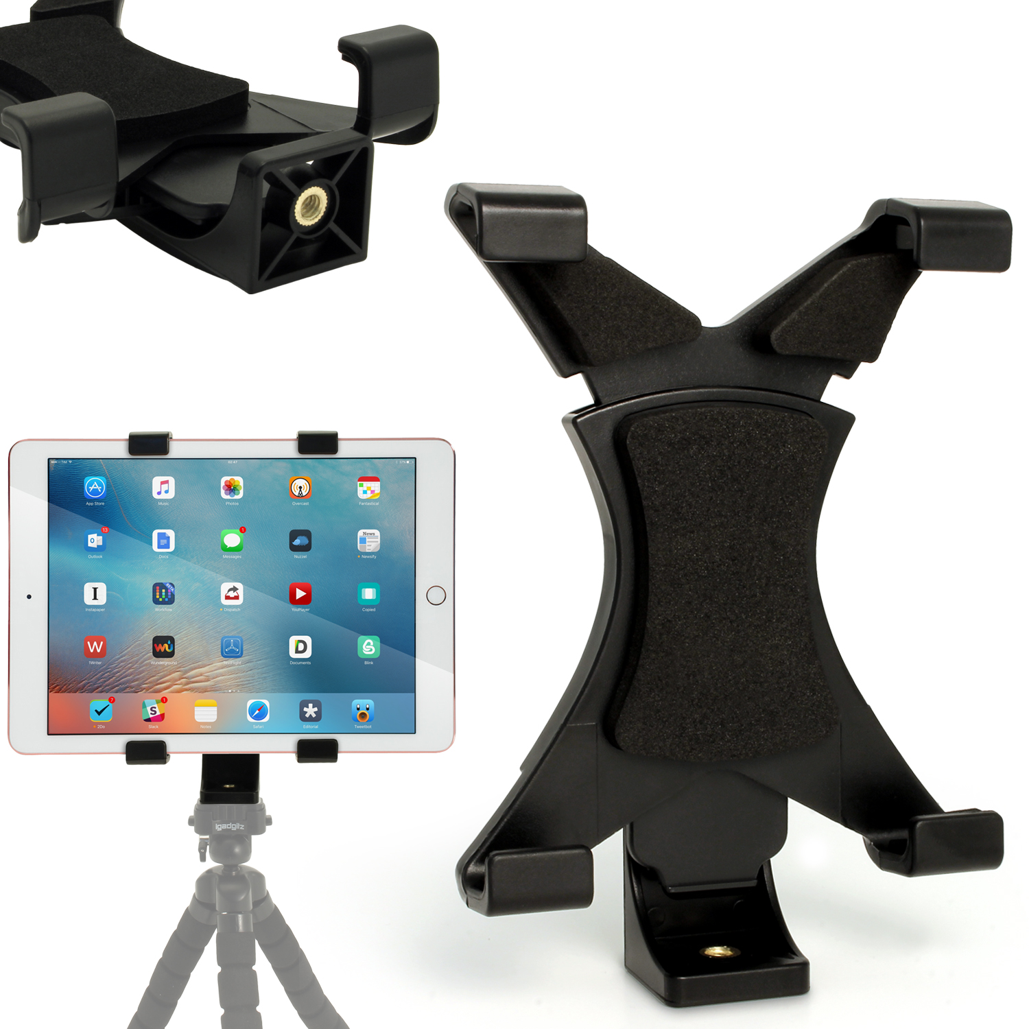 "iGadgitz Universal Tablet Holder Mount Bracket for Tripods with 1/4 Inch Screw Thread ? Fits tablets 7"" - 10"" Tablets"