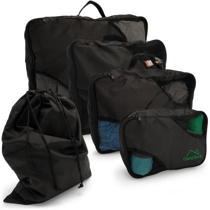 CampTeck 5 Pieces Packing 4 Cubes Set Travel Luggage Organizer Zip Bag + 1 Laundry Pouch ? Black (S, M, L, XL) Thumbnail 1
