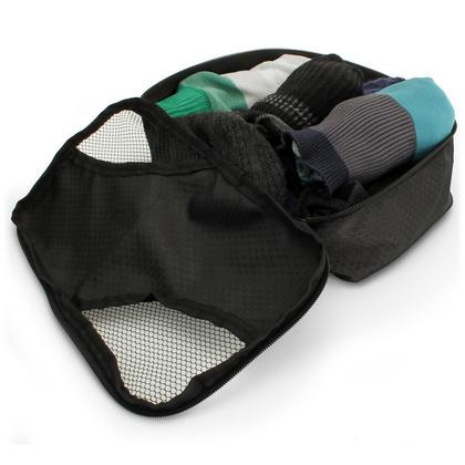 CampTeck 5 Pieces Packing 4 Cubes Set Travel Luggage Organizer Zip Bag + 1 Laundry Pouch ? Black (S, M, L, XL) Thumbnail 2