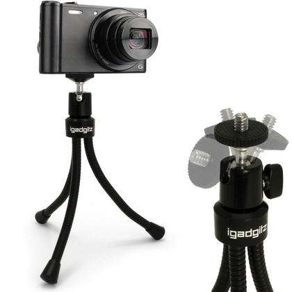 iGadgitz Flexible Large Table Top Tripod for Digital Compact Cameras ? Black Thumbnail 1