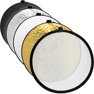 """iGadgitz 60cm (24"""") 5 in 1 Collapsible Round Disc Studio Light Reflector ? Silver, Gold, Black, White & Translucent"""