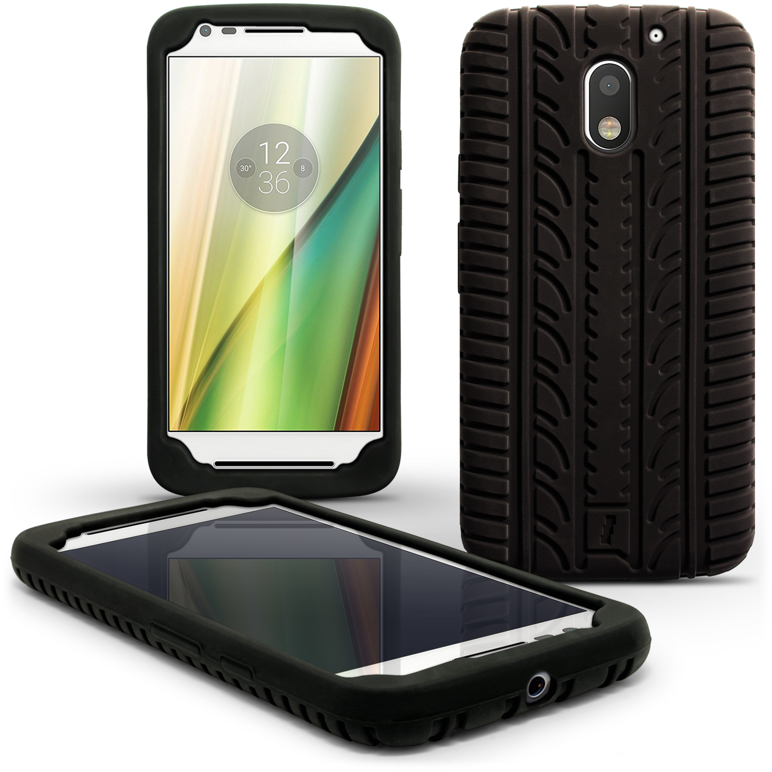 iGadgitz Black Tyre Tread Silicone Rubber Gel Skin Case Cover for Motorola Moto E 3rd Generation 2016 + Screen Protector
