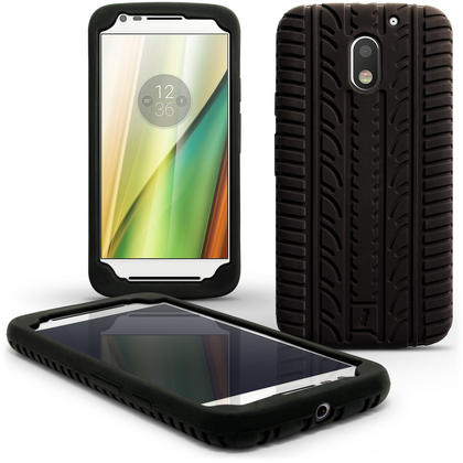 iGadgitz Black Tyre Tread Silicone Rubber Gel Skin Case Cover for Motorola Moto E 3rd Generation 2016 + Screen Protector Thumbnail 1