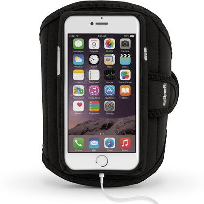 """iGadgitz Water Resistant Black Sports Jogging Gym Armband for Apple iPhone 7 & 8 4.7"""" Thumbnail 1"""