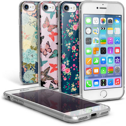 "iGadgitz ""Designer Collection"" Glossy TPU Gel Skin Case Cover for Apple iPhone 7 & 8 4.7"" + Screen Protector Thumbnail 1"