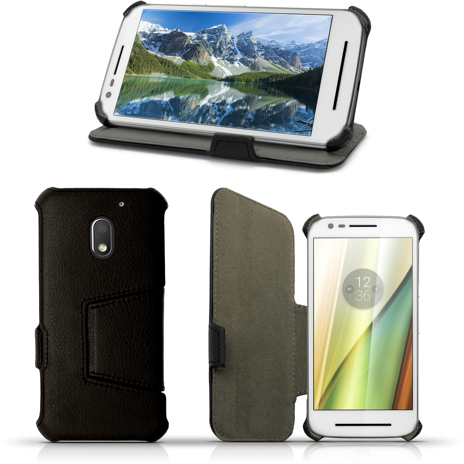 iGadgitz Folio PU Leather Case Cover for Motorola Moto E 3rd Generation (E3) with Multi-Angle Stand + Screen Protector