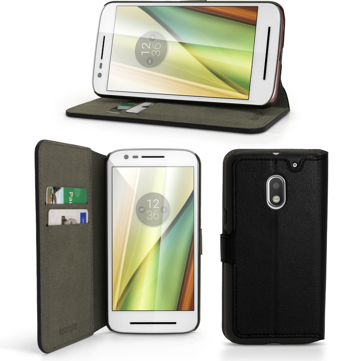 iGadgitz Wallet Flip PU Leather Case Cover for Motorola Moto E 3rd Generation (E3) With Card Slots + Stand + Screen Prot