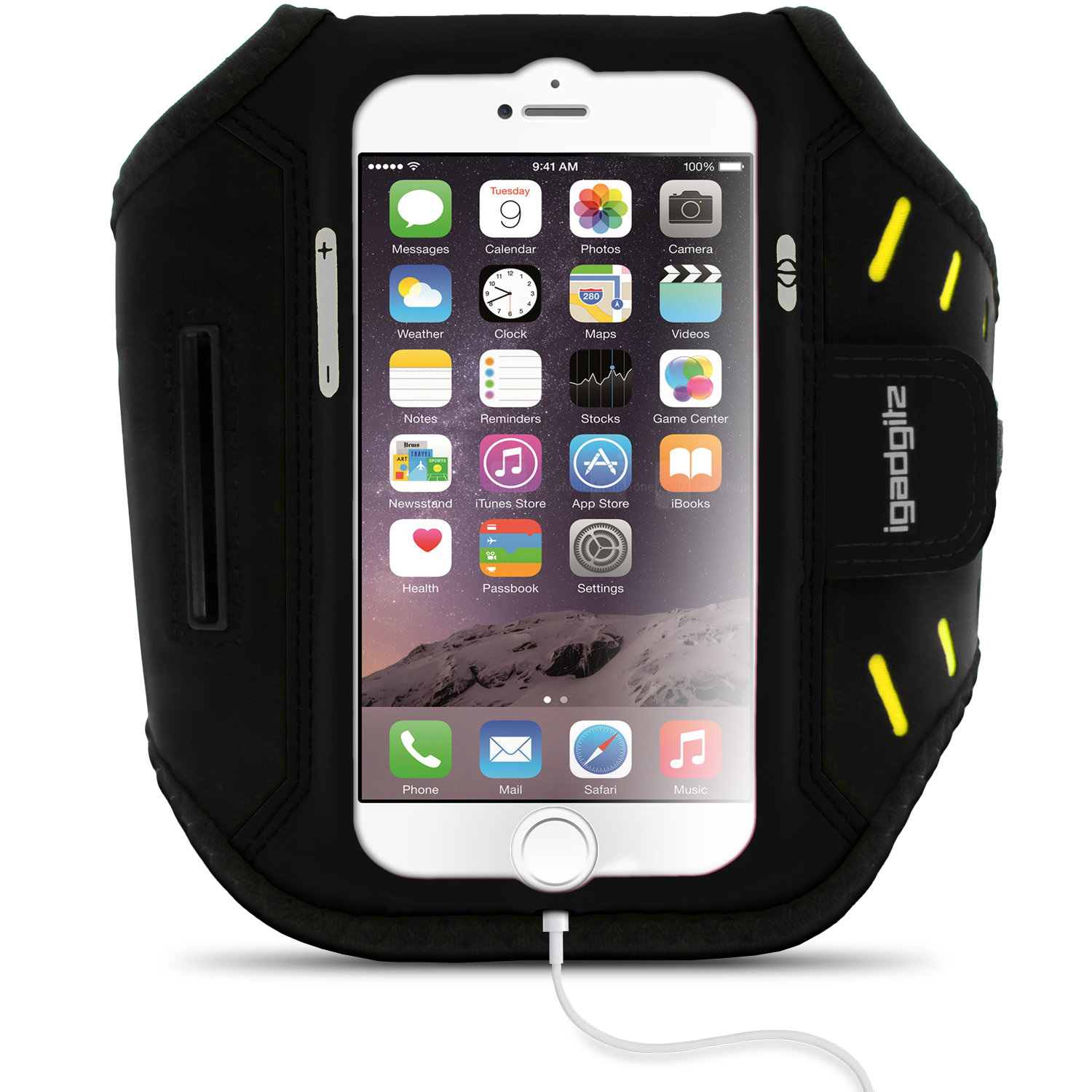 "iGadgitz Water Resistant Lightweight Neoprene Sports Jogging Gym Armband for Apple iPhone 7 & 8 4.7"" with Key Slot"
