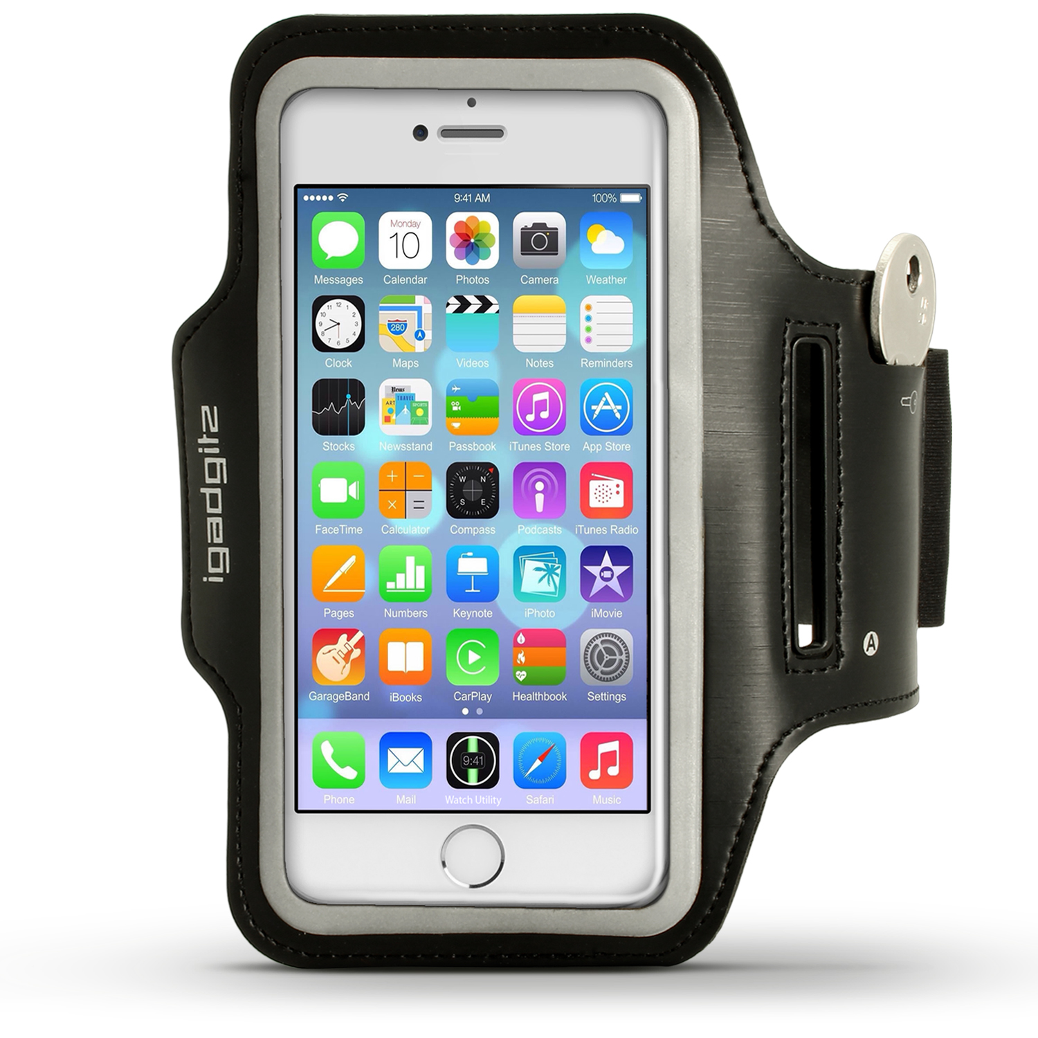 "iGadgitz Reflective Anti-Slip Sports Jogging Gym Armband for Apple iPhone 7 & 8 4.7"" with Key Slot"