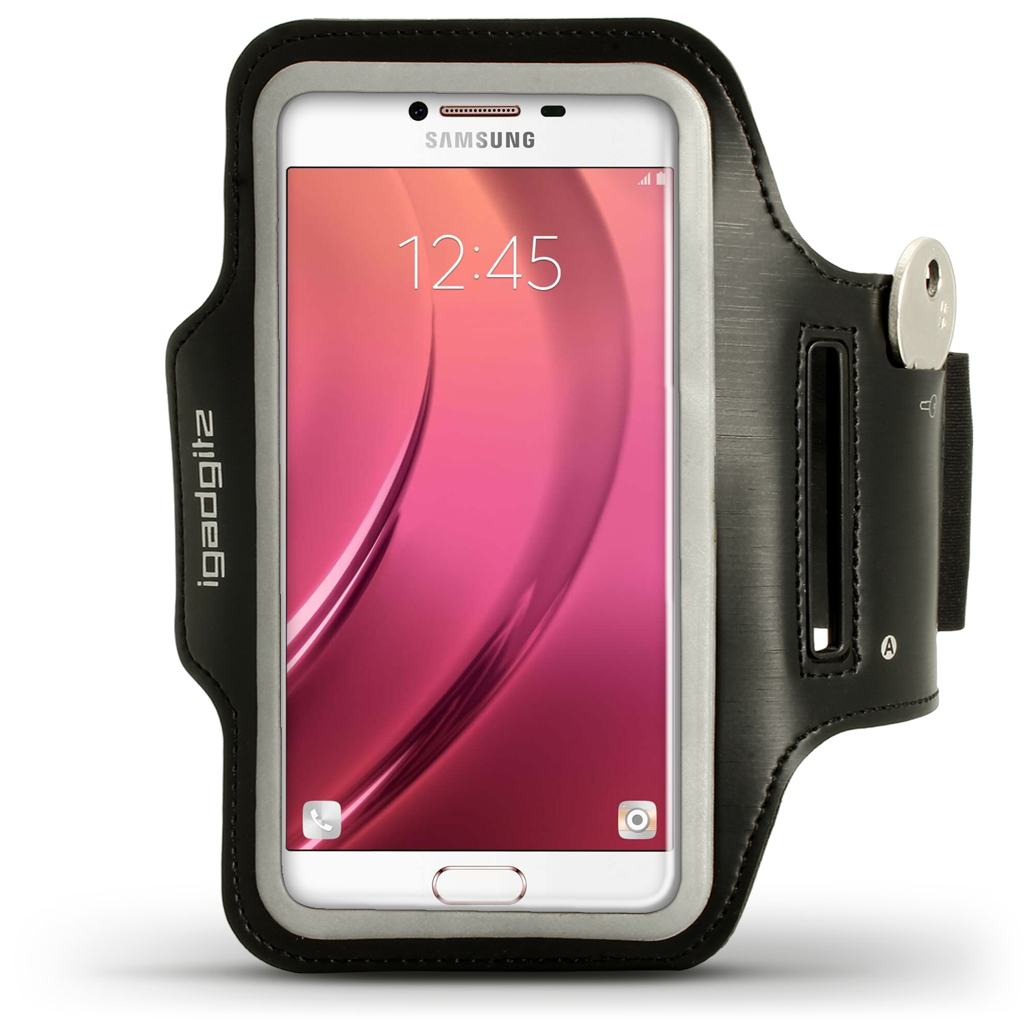 iGadgitz Reflective Black Sports Jogging Gym Armband for Samsung Galaxy C5 SM-C5000 (2016) with Key Slot