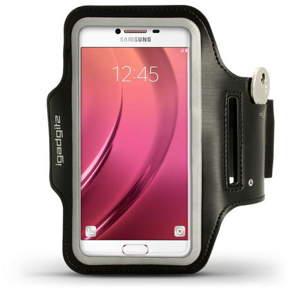 iGadgitz Reflective Black Sports Jogging Gym Armband for Samsung Galaxy C5 SM-C5000 (2016) with Key Slot Thumbnail 1