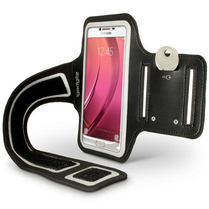 iGadgitz Reflective Black Sports Jogging Gym Armband for Samsung Galaxy C5 SM-C5000 (2016) with Key Slot Thumbnail 2