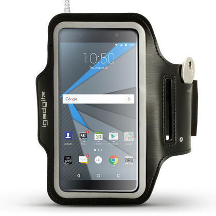iGadgitz Reflective Black Sports Jogging Gym Armband for BlackBerry DTEK50 (BlackBerry Neon) with Key Slot Thumbnail 1