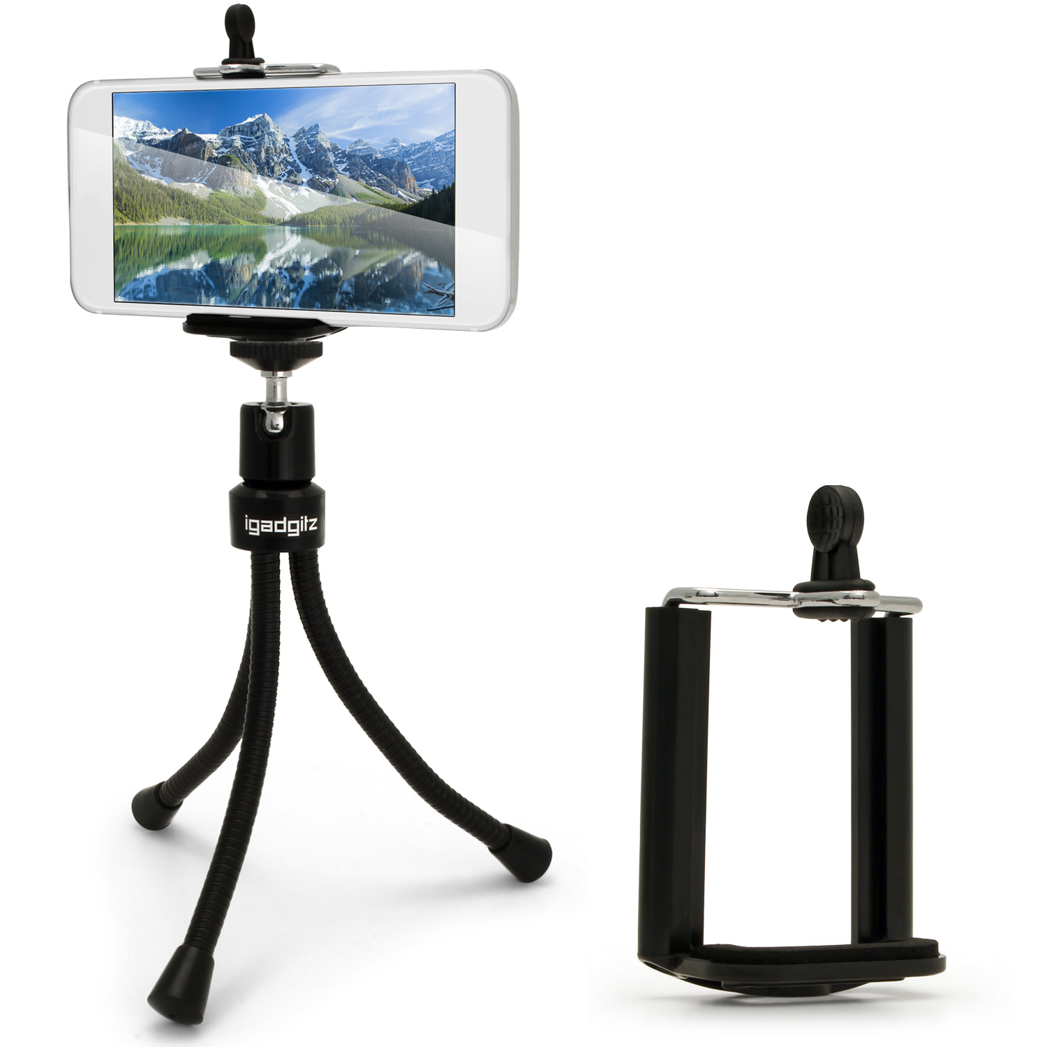 iGadgitz Flexible Large Table Top Tripod + Standard Smartphone Holder Mount Bracket Adapter