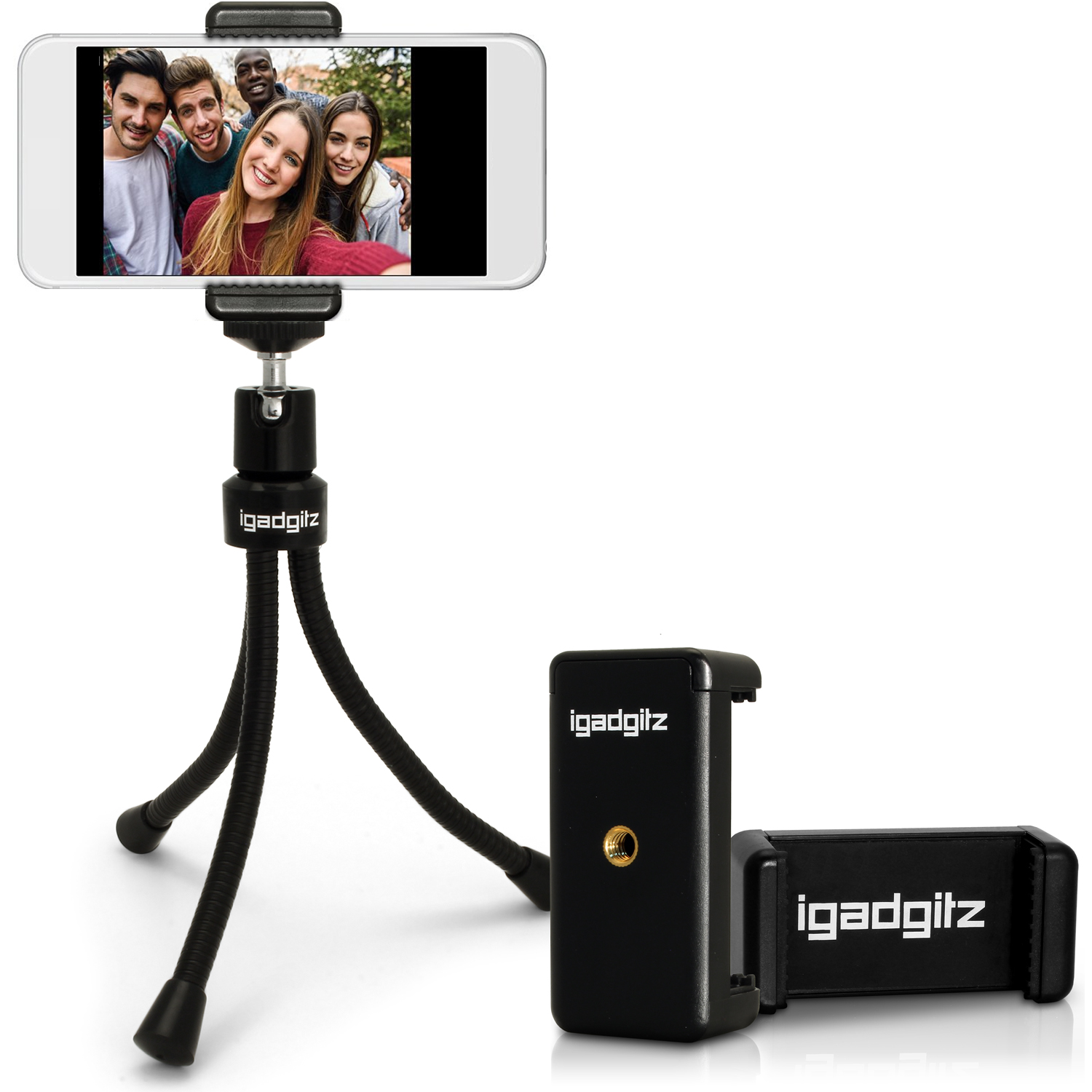 iGadgitz Flexible Large Table Top Tripod + Premium Smartphone Holder Mount Bracket Adapter