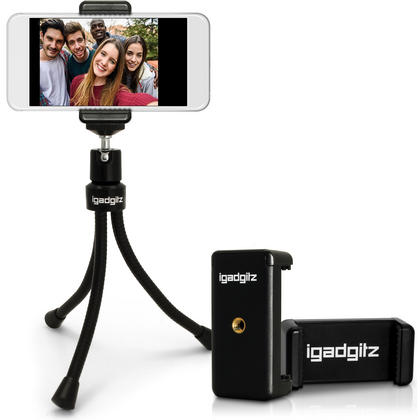 iGadgitz Flexible Large Table Top Tripod + Premium Smartphone Holder Mount Bracket Adapter Thumbnail 1