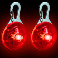 2X Red LED Safety Clip-On Night Light Pendant for Running Walking Cycling with 3 Modes