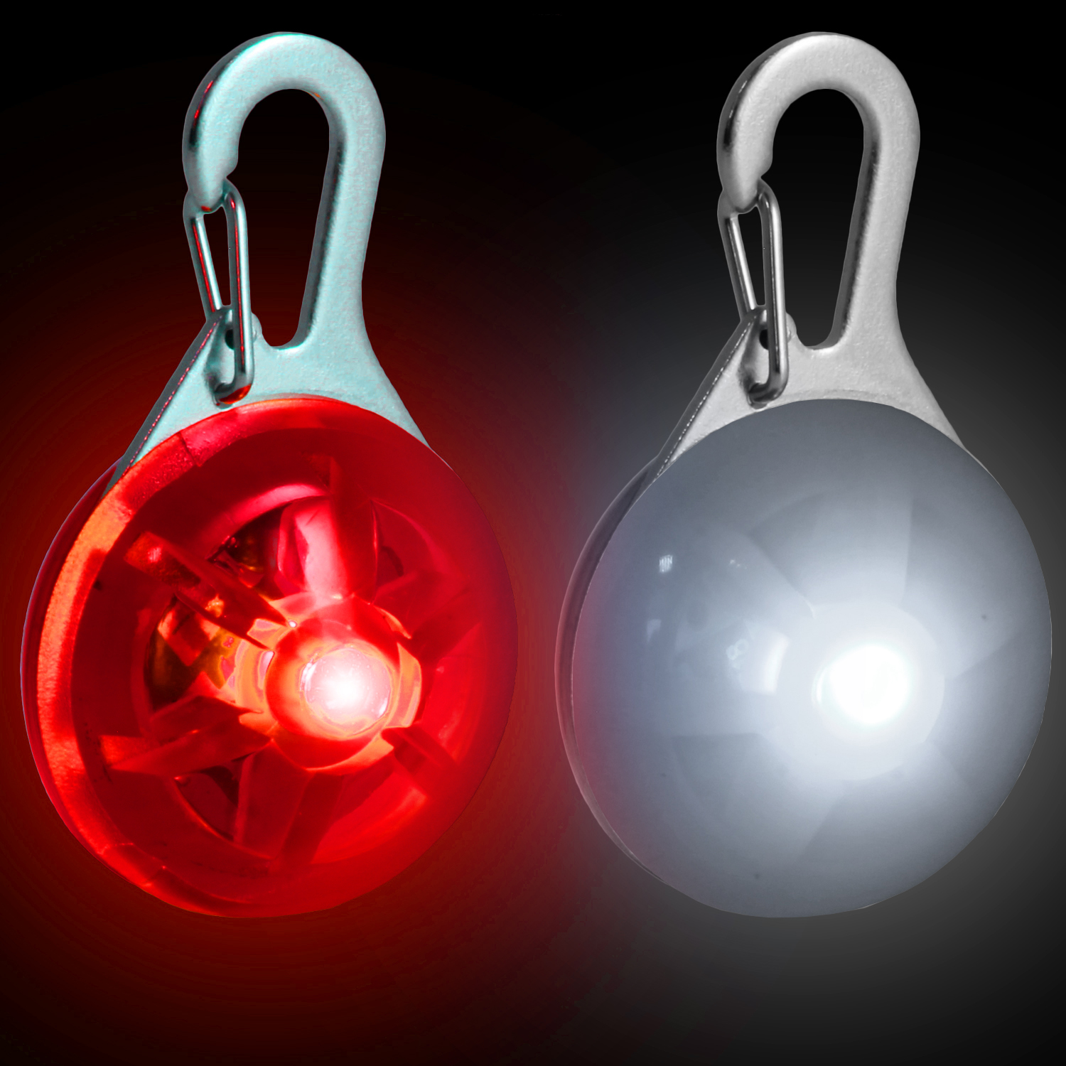 Red & White LED Safety Clip-On Night Light Pendant for Running Walking Cycling with 3 Modes