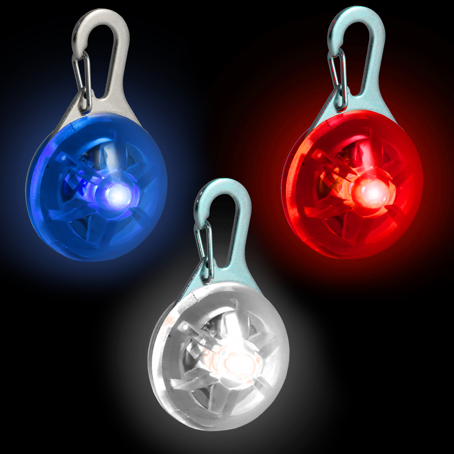 Red, Blue & White LED Safety Clip-On Night Light Pendant for Running Walking Cycling with 3 Modes