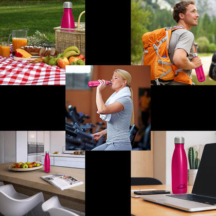 CampTeck 500ml Insulated Stainless Steel Water Bottle Double Walled Vacuum Drinks Sports Bottle - Pink Thumbnail 8