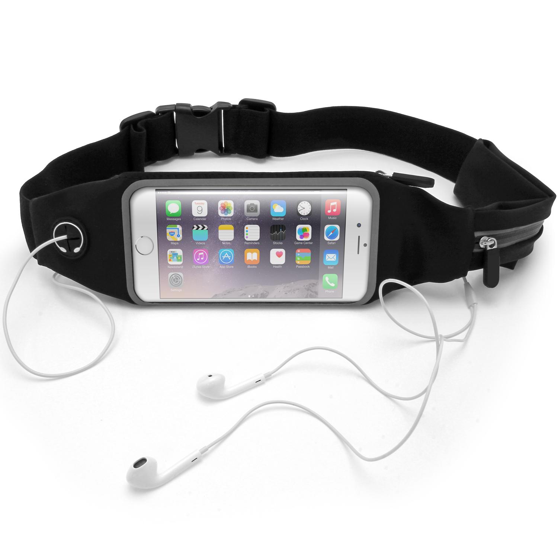 iGadgitz Black Water Resistant Universal Running Belt Waist Pack Fitness Sport Touchscreen Waistband for Smartphones