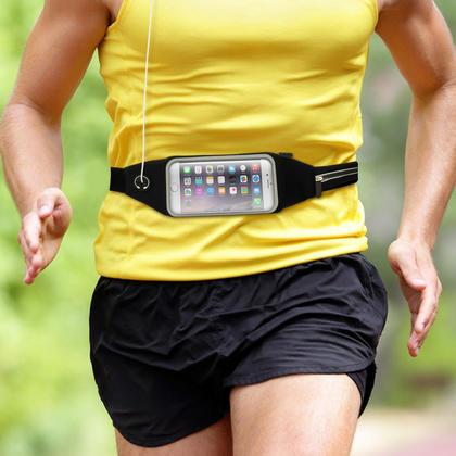 iGadgitz Black Water Resistant Universal Running Belt Waist Pack Fitness Sport Touchscreen Waistband for Smartphones Thumbnail 5